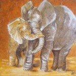 maman et bébé éléphants